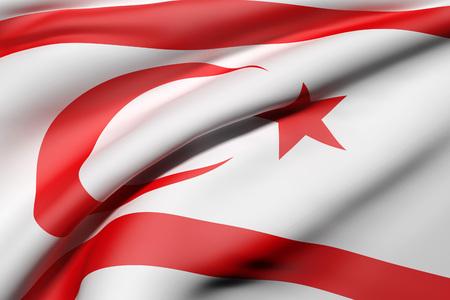 3d rendering of Turkish Republic of Northern Cyprus flag waving