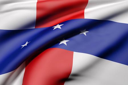 3d rendering of Netherlands Antilles flag waving