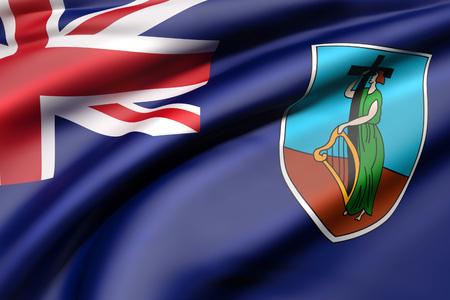 3d rendering of Montserrat flag waving
