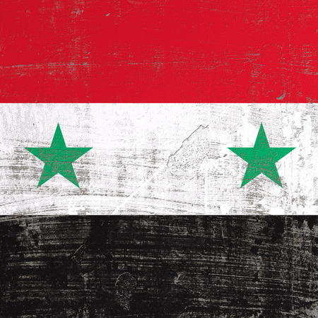 3d rendering of Syria flag in a scratched surface