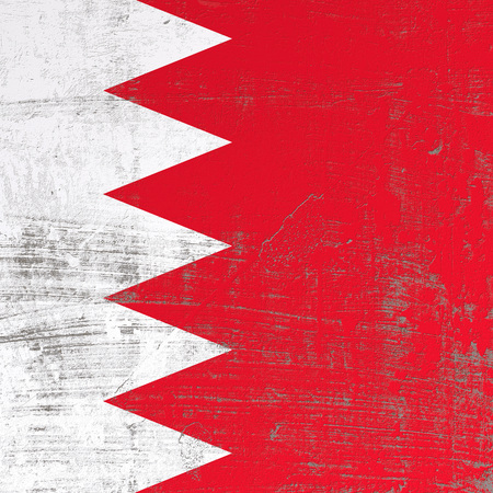 3d rendering of Bahrain flag in a scratched surface Stock Photo