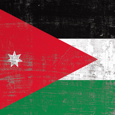 3d rendering of Jordan flag in a scratched surface