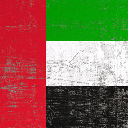 3d rendering of United Arab Emirates flag in a scratched surface