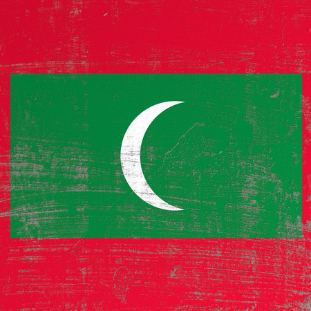 3d rendering of Maldives flag in a scratched surface 写真素材