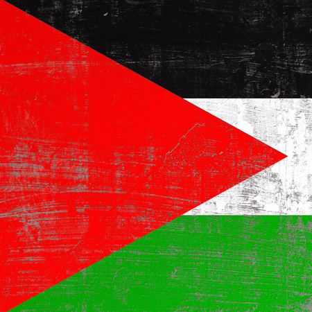 3d rendering of Palestine flag in a scratched surface Stock Photo