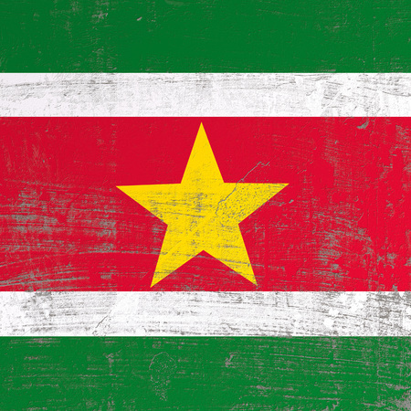 3d rendering of Suriname flag in a scratched surface