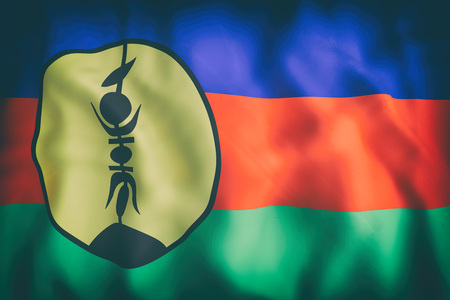 3d rendering of an old New Caledonia flag waving