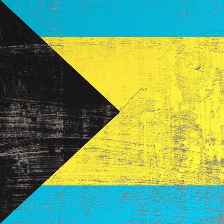 3d rendering of Bahamas flag in a scratched surface Stock Photo