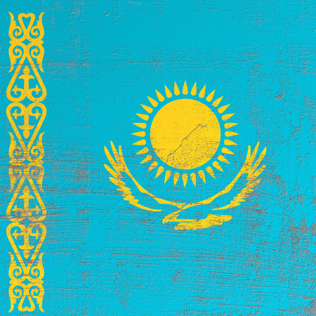 3d rendering of Kazakhstan flag in a scratched surface