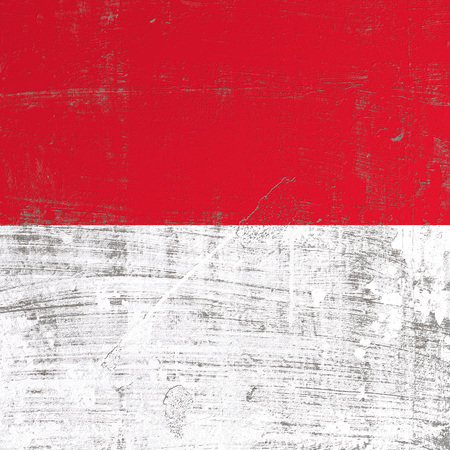 3d rendering of Indonesia flag in a scratched surface