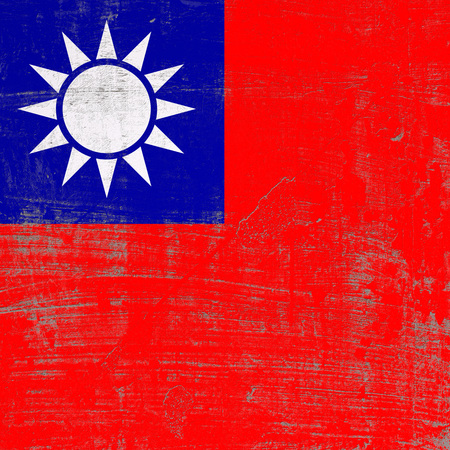 3d rendering of taiwan flag in a scratched surface