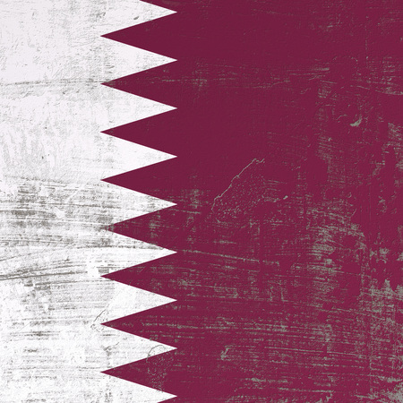 3d rendering of Qatar flag in a scratched surface Stock Photo