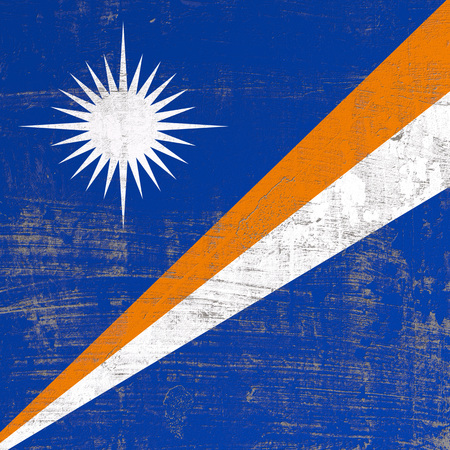 3d rendering of Marshall Islands flag in a scratched surface 写真素材