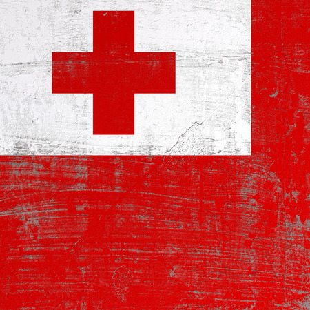 3d rendering of Tonga flag in a scratched surface Stock Photo