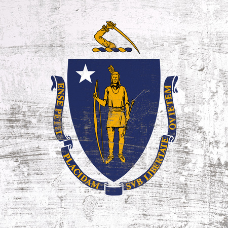3d rendering of Massachusetts flag in a scratched surface