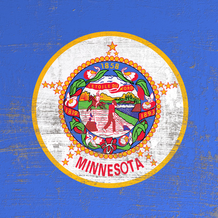 3d rendering of Minnesota flag in a scratched surface Banco de Imagens