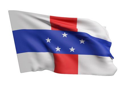 3d rendering of Netherlands Antilles flag waving on white background Stockfoto
