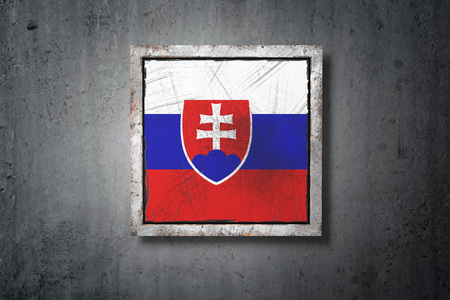 3d rendering of an old Slovakia flag in a concrete wall