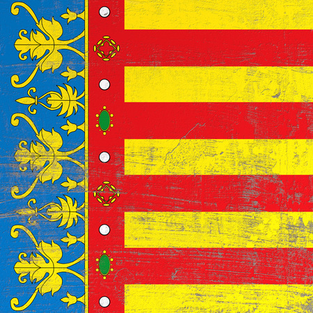 3d rendering of Valencian spanish community flag in a scratched surface Фото со стока