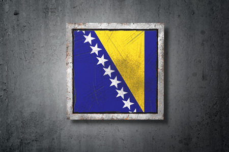 3d rendering of an old Bosnia and Herzegovina flag in a concrete wall