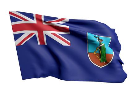 3d rendering of Montserrat flag waving on white background Stock Photo