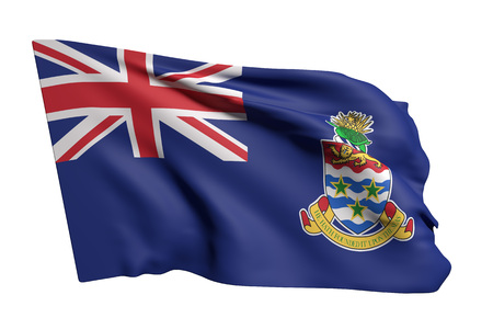 3d rendering of Cayman Islands flag waving on white background