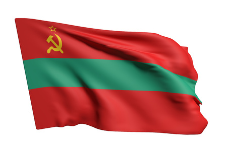 3d rendering of Transnistria flag waving on white background