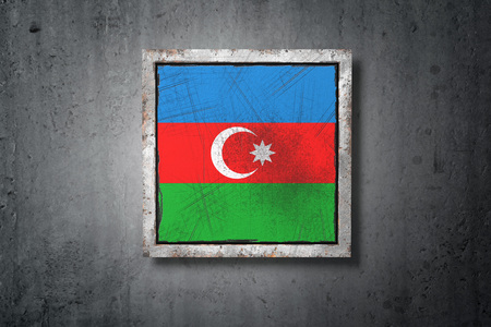 3d rendering of an old Azerbaijan flag in a concrete wall