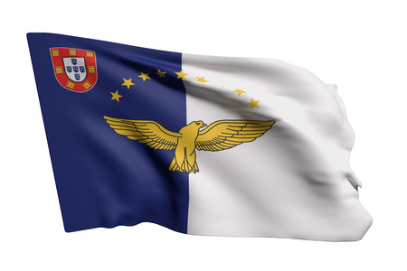 3d rendering of Azores flag waving on white background