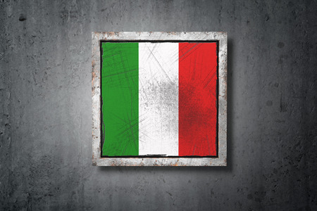 3d rendering of an old Italy flag in a concrete wall Stock Photo