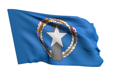 3d rendering of Northern Mariana Islands flag waving on white background Imagens