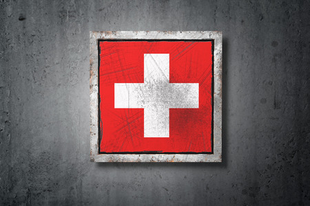 3d rendering of an old Switzerland flag in a concrete wall Banque d'images - 101434829