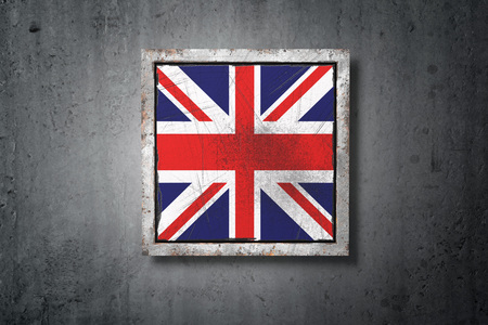 3d rendering of an old United Kingdom flag in a concrete wall