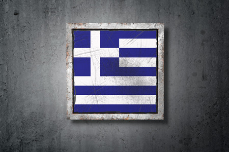 3d rendering of an old Greece flag in a concrete wall Stock Photo