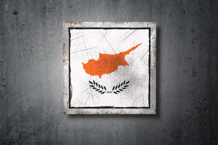 3d rendering of an old Cyprus flag in a concrete wall