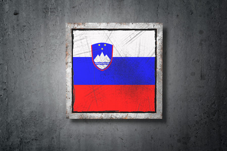 3d rendering of an old Slovenia flag in a concrete wall Stock Photo