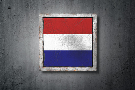 3d rendering of an old Holland flag in a concrete wall Stock Photo