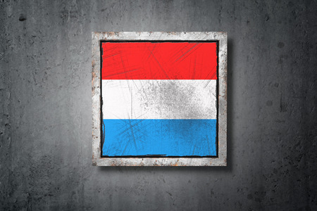 3d rendering of an old Luxembourg flag in a concrete wall