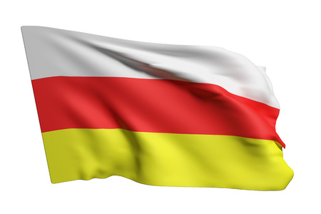3d rendering of South Ossetia flag waving on white background Reklamní fotografie