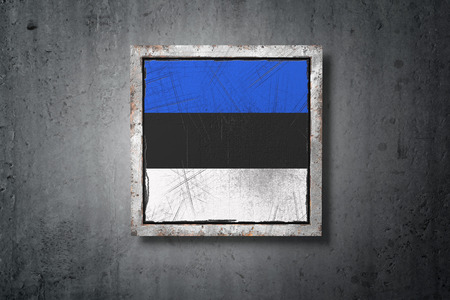 3d rendering of an old Estonia flag in a concrete wall