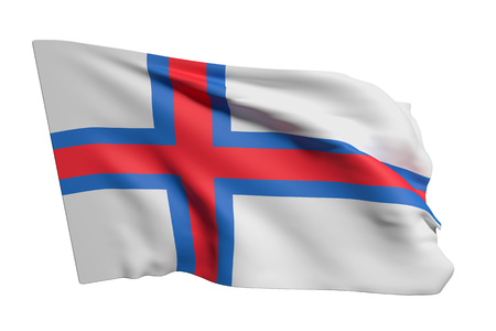 3d rendering of Faroe Islands flag waving on white background Imagens