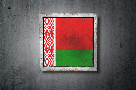 3d rendering of an old Belarus flag in a concrete wall Stock Photo