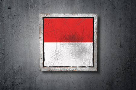 3d rendering of an old Monaco flag in a concrete wall Stock Photo