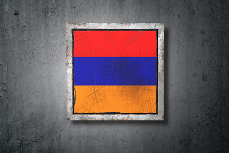 3d rendering of an old Armenia flag in a concrete wall