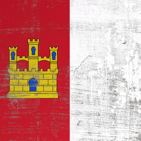 3d rendering of Castilla La Mancha spanish community flag in a scratched surface Imagens