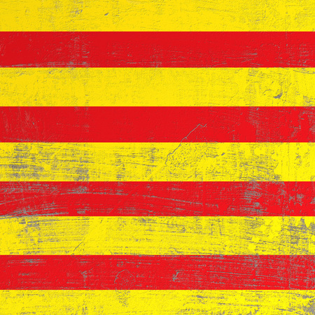 3d rendering of Catalonia spanish community flag in a scratched surface