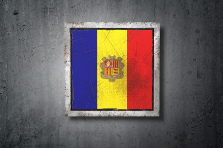 3d rendering of an old Andorra flag in a concrete wall