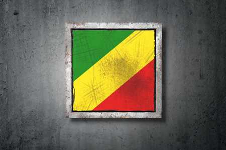 3d rendering of an old Republic of Congo flag in a concrete wall