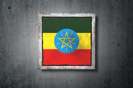 3d rendering of an old Ethiopia flag in a concrete wall