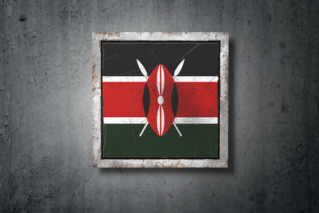 3d rendering of an old Kenya flag in a concrete wall